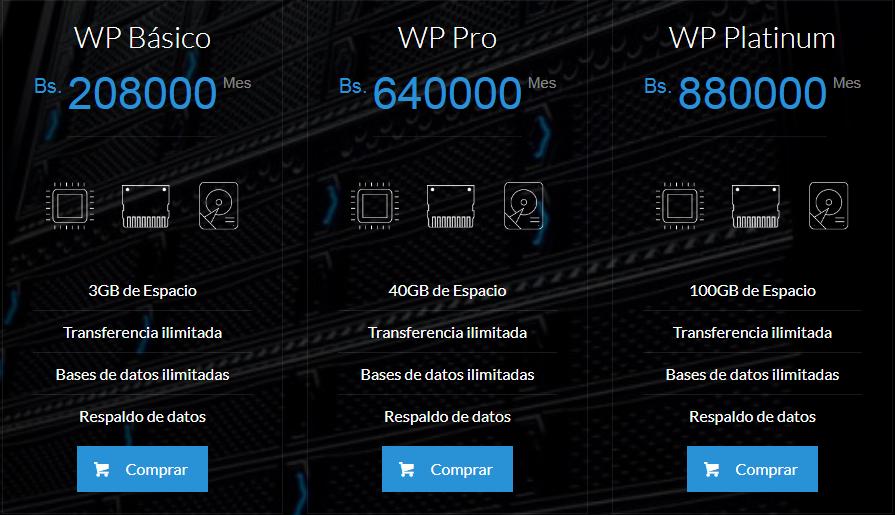 Planes wordpress Caracas Hosting